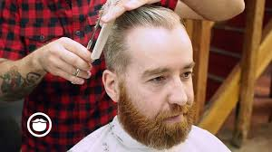 men u0027s side part haircut with a classic beard trim youtube