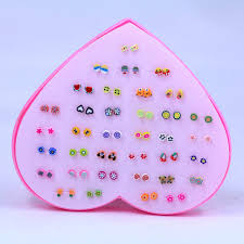 earring stud set 36 pairs set new design mini handmade flower clay earring stud