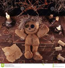 magic halloween background voodoo ritual with doll and magic objects stock photo image