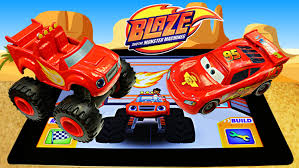 lightning mcqueen monster truck videos blaze and the monster machines plays racing game app with disney