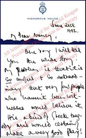 prince charles u0027s hand written letters to nancy reagan daily mail