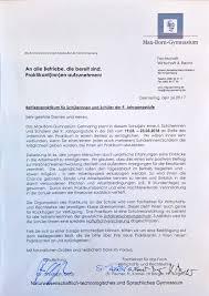 Praktikum Zusage Vorlage Betriebspraktikum Max Born Gymnasium