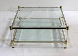 vintage style coffee table brass chrome lucite and glass coffee