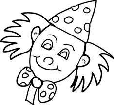 coloriage pour petits  tête de clown à pois  Tête à modeler