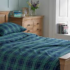 blue and green tartan brushed cotton duvet cover set cotton