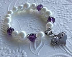 flower girl charm bracelet flower girl bracelet purple etsy