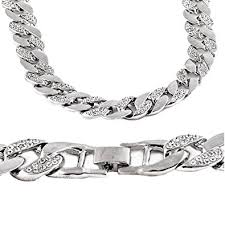 man silver link bracelet images 30 quot iced out hip hop chain silver tone 15mm wide thick miami cuban jpg
