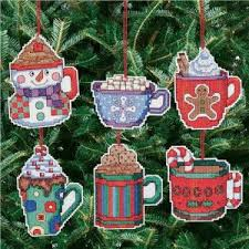 chocolate cross stitch ornaments janlynn kit