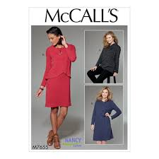 mccall s 7655 misses s tunic and dress with overlay and