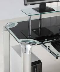 Metal And Glass Computer Desks Desk Large Black Glass Computer Desk Tempered Glass Office Desk