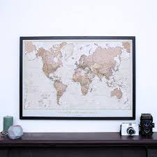 Framed Map Of The World by Personalised Antique World Map By Maps International
