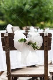 detail countryside wedding decoration textile chair bow with