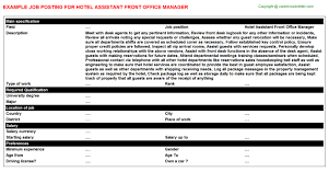 hotel front desk manager job description front office manager job
