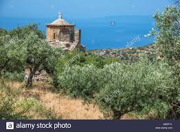 tenth century byzantine chapel of st nicholas with olive trees and