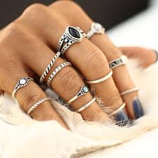 12pcs sets fashion vintage midi rings set antique gold