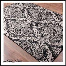 vintage area rug damask black grey ivory decor 5x8 carpet ebay