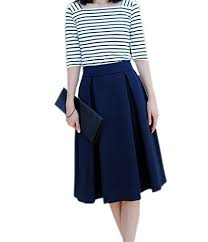 knee length skirt vintage royal blue skirt knee length high waisted pleated