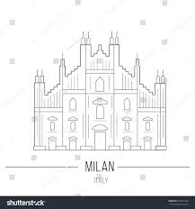 line icon milan cathedral duomo sight stock vector 335071442
