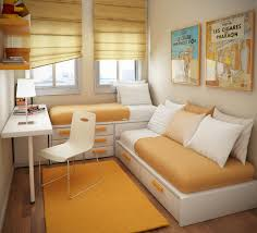 Small Bedroom With 2 Beds Bedroom White Modern Wooden Storage Beds Plastic Chair Orange