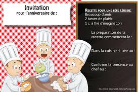 anniversaire cuisine invitation anniversaire thème les grands chefs cuisiniers la boite