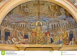 jesus enthroned with apostles in heavenly jerusalem mosaico di