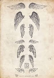 collection of 25 outline simple wings tattoos on back