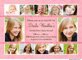 graduation open house invitations pink photo collage open house invitation graduation party card