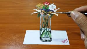 Drawings Of Flowers In A Vase How To Draw And Paint Vase Of Fowers 3d Illusion Dessin 3d 3d