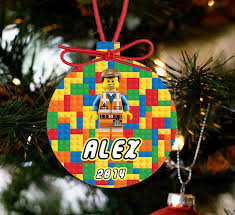 personalized lego ornament lego character hat e