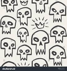 cute halloween pattern background doodle evil skulls seamless pattern cute stock vector 315058259