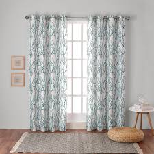 Teal Window Curtains Branches Teal Linen Blend Grommet Top Window Curtain Eh7995 03 2