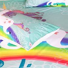 Unicorn Bed Set Rainbow Unicorn Bedding Set 3pcs Wolvestuff