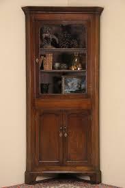 Corner Cabinet With Glass Doors Sold Oak 1900 Antique English Corner Cabinet Wavy Glass Door