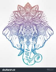 elephant tattoo with words vintage style vector elephant with with ornate lotus mandala crown