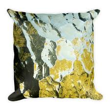 GOLDEN GLASS ART PILLOW DECORATIVE PILLOW ART AND HOME DECOR