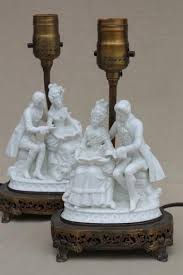 Antique Porcelain Table Lamps Ornate Vintage Pure White Porcelain French Couple Figurine Table