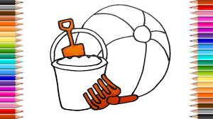 how to draw beach toys bucket spade beach ball colouring pages