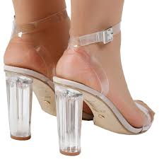 womens sandals ladies clear heel fashion party perspex shoes