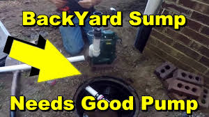 low water sump pump backyard sump pump drainage needs good 1 2 hp pump youtube