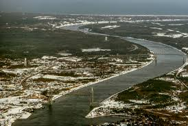 cape cod canal in winter aerial photo cape cod digital