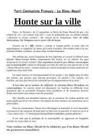 si e parti communiste honte sur la ville déclaration du parti communiste français le