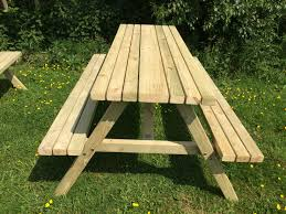 4 foot heavy duty 4 seater picnic pressure treated bench set
