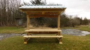 picnic pavilion timber frame shelter u0026 table combined