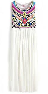 tribal dress white fling sleeveless argyle triangle geometric tribal print