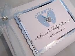 baby shower guest book blue footprints