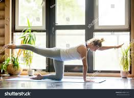 Livingroom Yoga Full Length Portrait Beautiful Young Woman Stock Photo 488817421