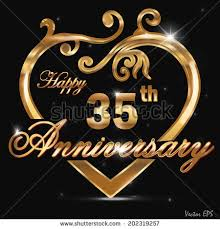 35 year anniversary 35th anniversary golden pattern design 35 stock vector 202319257