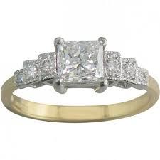 princess cut engagement ring in two tone gold u0026 platinum london