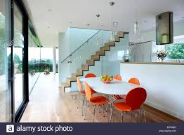 open plan dining room and staircase in trees ubly home somerset