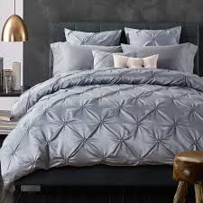 luxury bedding sunnyrain 6 pieces grey pinch pleat luxury bedding set king queen